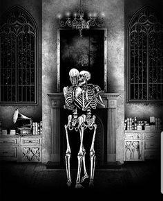 Skeleton Love, Dog Skeleton, Psy Art, Danse Macabre, Dog Illustration, Gothic Home Decor, Gothic House, Skull Art, Beautiful Artwork