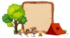 Camping kids on wooden banner vector image on VectorStock Powerpoint Background Design, Background Templates, Background Banner, Vector Background, Free Vector Images, Vector Art, Scouts, School Board Decoration, Boarders And Frames
