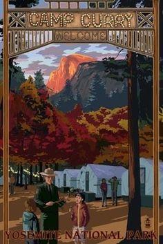 Camp Curry - Yosemite National Park, California - Lantern Press Poster