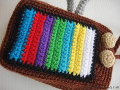 Crochet Pattern VINTAGE TELEVISION PURSE For cell by skymagenta
