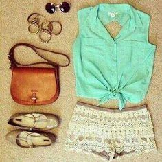 Floral shorts, tie up sleeveless, flats, sunglasses. [Summer]