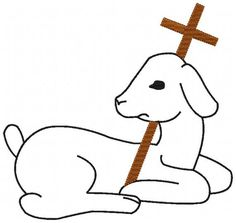 Lamb Black Outline with Brown Cross Christian Machine Embroidery Design - 2 Sizes - Instant Digital Download Embroidery File