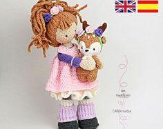 Crochet pattern for doll MIA & deer LAYLA (Deutsch, English,  Español, Nederlands)