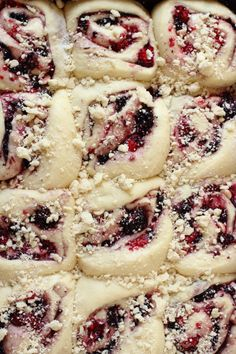 Triple Berry Breakfast Buns with White Chocolate Cream Cheese Frosting | Foodness Gracious