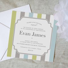 Personalised Stripy Christening Invitations