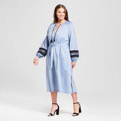 Women's Plus Size Beach Caftan - Who What Wear Chambray 4X