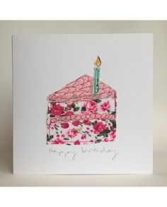A slice of birthday cake and candle, in pretty floral cotton to make a lovely birthday gift for someone special. FSC certified, textured card measure 15 x Supplied with a cream envelope and cello bag. Happy Birthday Cards Handmade, Homemade Birthday Cards, Greeting Cards Handmade, Homemade Cards, Freehand Machine Embroidery, Free Motion Embroidery, Fabric Cards, Fabric Postcards, Sewing Cards