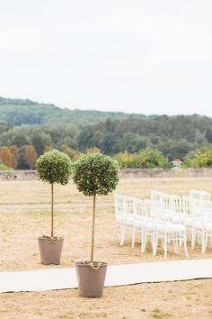Topiaries flanking the wedding aisle -- More On SMP: http://www.StyleMePretty.com/2014/02/20/french-chateau-destination-wedding/  M & J Photography