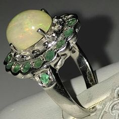 New 925 Silver TOP GEM Ethiopia Welo Fire Opal Emerald Ring 7