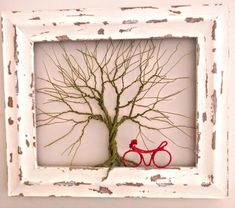 A wire tree sculpture painted in acrilic olive green colour and framed in a wooden chaby chic style frame ! Special add a red handmade bike ! Wire Tree Sculpture, Sculpture Painting, Olive Green Color, Green Colors, Wire Trees, Tree Wall Art, Metal Tree, Handmade Items, Handmade Gifts