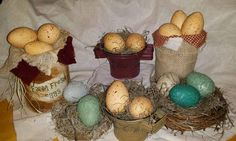 DYI FAUX FARM EGGS using Wal-mart #fauxeggs great for Easter or for your #primitivedecor