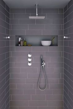 Ideas For Bathroom Remodel Grey And White Shower Niche Grey Bathroom Tiles, Grey Bathrooms, Laundry In Bathroom, Beautiful Bathrooms, Modern Bathroom, Master Bathroom, Grey Tiles, Bathroom Storage, Modern Shower