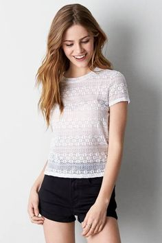 AEO Lace Baby T-Shirt  by AEO | The perfect boho-inspired tee for all your festival looks.  Shop the AEO Lace Baby T-Shirt  and check out more at AE.com.