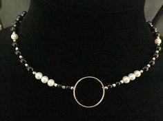 Onice nero autentica perla e oro 14k riempito Collana