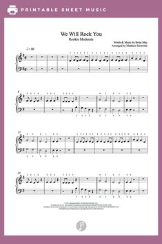 We Will Rock You by Queen Piano Sheet Music | Rookie Level