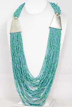 36 Inch Long Multi Strand Turquoise Seed Bead Gypsy Necklace-Long, Multi, Strand ,Turquoise, Sead ,Beed ,Gypsy, Necklace