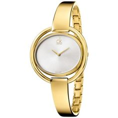 ck Calvin Klein Women's Swiss Impetuous Gold PVD Stainless Steel Bangle Bracelet Watch 40mm K4F2N516 ($385) found on Polyvore