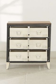 Mini Industrial Storage Dresser - Urban Outfitters ... like the color contrasts (but not the open gaps)