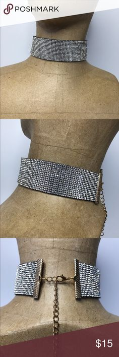Rhinestone Choker Completely blinged out Choker on black band with option closure in back Glamour Hippy Jewelry Necklaces