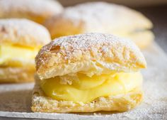 Sporcamuss Italian Cream Filled Pastries - A delicious Italian Pastry Cream filled Puff Pastry Square, Sporcamuss, a traditional recipe from S -