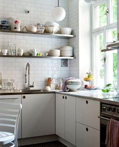 white tile + open shelving