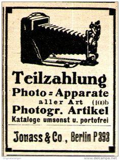 Original-Werbung/ Anzeige 1917 - PHOTO APPARATE / JONASS & CO. - BERLIN - ca. 40 x 50 mm