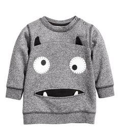 Sweater | Zwart gemêleerd | Kinderen | H&M NL