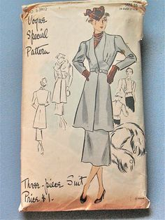 Vintage 1930s or early 1940s Vogue Special Design dress sewing pattern S-3912.