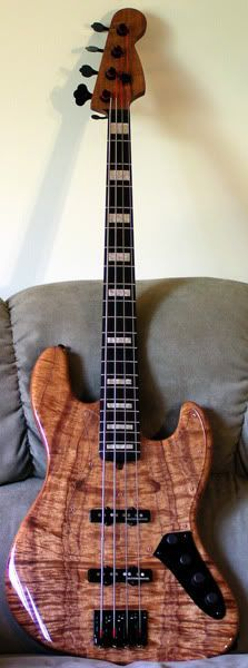 Warmoth Koa on Mahogany Jazz Bass