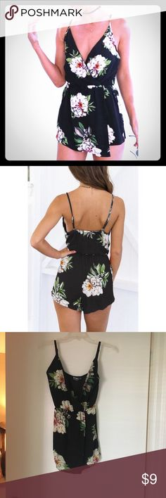 Black Flower Print Romper Black romper with flower pattern and wrap around detail in front, as pictured. Tag Size is M but fits like a S. Tags removed, never actually worn. Purchased from Yoins. Adjustable spaghetti straps. Cinched waist. Very cute but selling because the back is too cheeky for my style. Other