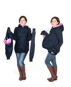 3 in 1 Maternity Pregnancy Multifunctional Kangaroo hoodie/jacket for MOM and BABY, baby carrying hoodie S/M