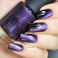 Black Gold Nails This gorgeous purple magnetic polish has lilac undertones and blue shimmer for mysteriously stunning nails. Collection: Precious Stones Gorgeous nails by yagala, sveta_sanders, and helene____b - Diy Nails, Cute Nails, Pretty Nails, Nail Art Diy, Gorgeous Nails, Nail Polish Designs, Cute Nail Designs, Nail Polish Colors, Nails Design