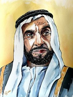 Sheikh Zayed bin Sultan Al Nahyan Watercolour and ink on paper by Giulia Gatti Watercolor And Ink, Watercolor Paintings, Watercolors, Damask Rose, Gray Eyes, Red Earrings, Portrait Art, Sheikh Mohammed, Daughter