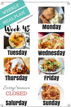 Welcome back to another easy weekly meal plan week 48! #MealPlanning #mealprepping #familyrecipes #EasyMeals #EasyRecipes #easyrecipe #familyfreshmeals #casserole