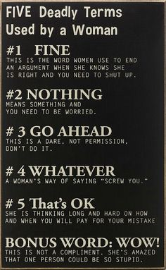 Gray 'Deadly Terms Used by a Woman' Sign (I don't really think this only applies to women, but still it's funny) Great Quotes, Quotes To Live By, Inspirational Quotes, Sarcastic Quotes, True Stories, Wise Words, I Laughed, Favorite Quotes, Funny Memes