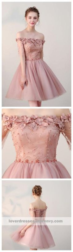 Dusty Pink Off Shoulder Short Sleeves Cheap Homecoming Dresses 2018 Simple Homecoming Dresses, Prom Party Dresses, Bridesmaid Dresses, Dress Prom, Bridesmaids, Wedding Dresses, Dresses Short, Cheap Dresses, Dresses Dresses