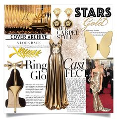 """Red Carpet style"" by jannatqtr ❤ liked on Polyvore featuring Whiteley, Tiffany & Co., Oscar de la Renta, Ghidini 1961, La Mania, Versace, redcarpetstyle and OscarsThrowback"
