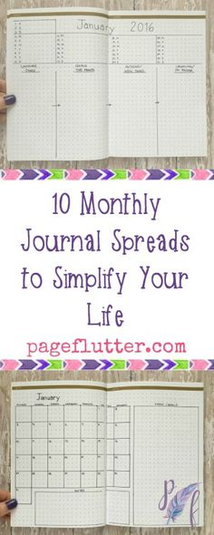 10 Monthly Journal Spreads|pageflutter.com | Match your scheduling spread to your needs and personality.