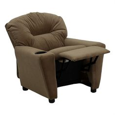 The Modern Kids' Brown Microfiber Recliner with Cup Holder will become your child's favorite perch!