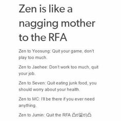 "Zen's route is even more nagging mother ""don't forget to eat"" ""did you have lunch?"" ""dont give any creeps your number"""