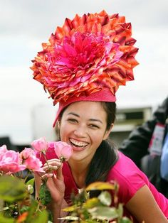 Bloomin' beautiful race day hat ... bright, cheerful and extravagant