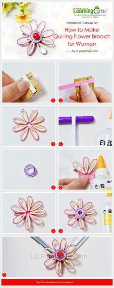 DIY Handmade Quilling Flower Brooch