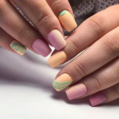 Bright summer nails Nails with branch Original nails Pink and orange nails Sandy nails Two color nails Vacation nails Velvet nails Cute Spring Nails, Bright Summer Nails, Spring Nail Colors, Spring Nail Art, Nail Art Design Gallery, Best Nail Art Designs, Nail Designs Spring, Two Color Nails, Velvet Nails