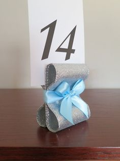 Table Number Holders - Wedding Decor - Ten (10) with Silver Glitter Metallic & Light Blue Satin Ribbon - Customize Your Colors
