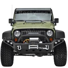 Restyling Factory 07-16 Jeep Wrangler JK Rock Crawler Full Width Front Bumper with Built-In Winch Plate & 4x LED Light & 2x D-Ring (Black) -- Awesome products selected by Anna Churchill