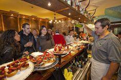 Serving txakoli (basque wine). Bar Sport. San Sebastian.