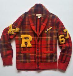 RALPH LAUREN DENIM SWEATER TARTAN RED HOLIDAY JACKET VARSITY BASEBALL LETERMAN M   eBay