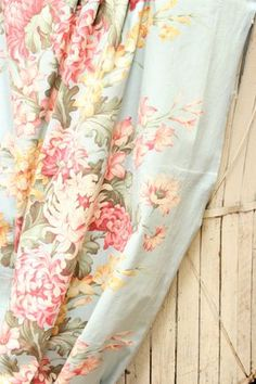 for my mom… 1930s Pink and Yellow Spring Floral Robins Egg Blue Vintage Fabric Drapery Panel