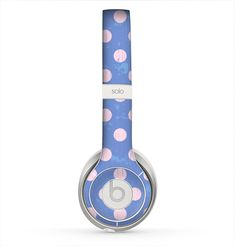 The Vintage Scratched Pink & Purple Polka Dots Skin for the Beats by Dre Solo 2 Headphones