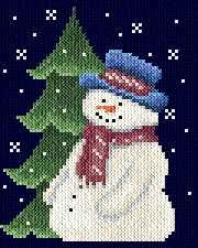 Snow man cross stitch pattern.